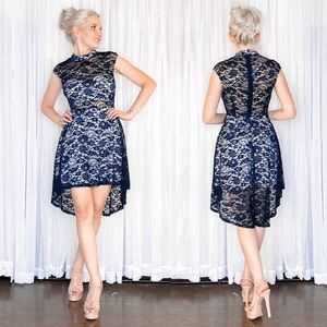 Blue Illusion Lace High Low Cocktail Party Dress